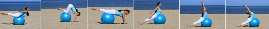Yoga ball pilates on the beach by Cathy Samë Lottin Waves, beach & health center Zandvoort