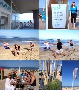 Beach yoga Waves, beach & health center door Cathy Samé Lottin