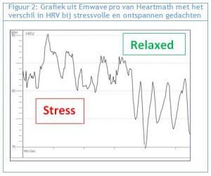 Heartmath-emwave stress vs relax Hartcoherentie Oefentherapie Mensendieck Waves, beach & health center door Cathy Samé Lottin