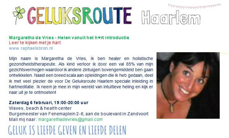 Geluksroute Margaretha de Vries bij Waves, beach & health center